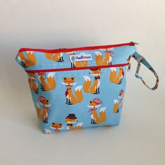 Foxy Blue Cosmetic Bag | Diaper Bag | Stow It All | Maxwell Designs #clothdiapers #baby #babyshowergift