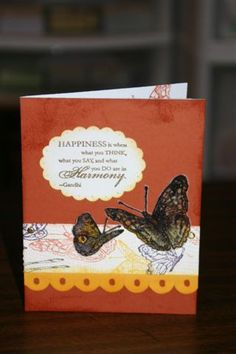 OSW Butterflies 8 Stamps: on gossamer wings, happy harmony Paper: rust, summer sun, ww, vellum Ink: artichoke, summer, rust, eggplant, versamark Accessories: embossing powders, slit punch, oval punch, markers