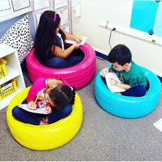 I spy all of my favorite colors! I think I may need to make these tire seats from for my classroom! Classroom Layout, 2nd Grade Classroom, Classroom Setting, Classroom Design, Kindergarten Classroom, Future Classroom, Classroom Themes, Classroom Organization, Classroom Management