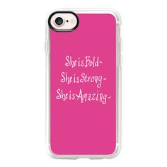 She...(bold pink) - iPhone 7 Case And Cover ($40) ❤ liked on Polyvore featuring accessories, tech accessories, phone cases, iphone case, iphone cover case, apple iphone case, pink iphone case, clear iphone case and iphone cases