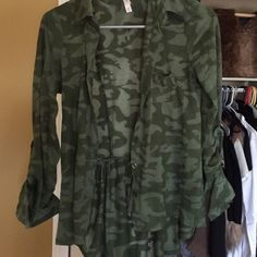 Camo blouse Worn a few times very nice Tops Blouses