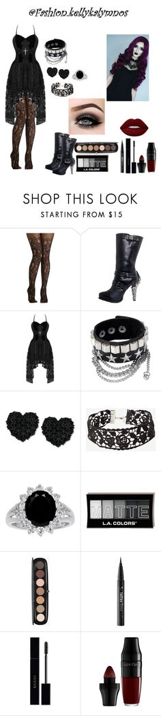 A fashion look from January 2018 featuring gothic lace dress, garter tights and embellished boots. Browse and shop related looks. Gothic Dress, Kat Von D, Hades, Gothic Fashion, Lime Crime, Betsey Johnson, Marc Jacobs, Gucci, Shoe Bag