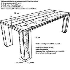 Doe het zelf bouwtekening voor tuintafels en eettafels. Om van steigerhout of planken van een pallet te maken, recycling houten tafels kosten heel weinig.