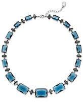 Lauren Ralph Lauren Silver-Tone Blue Bead Graduated Collar Necklace
