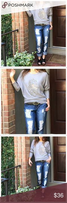 Paris hand sweater The Hand Hamsa Paris sweater this is a light gorgeous grey soft sweater from my buying trip in Paris one size Sweaters