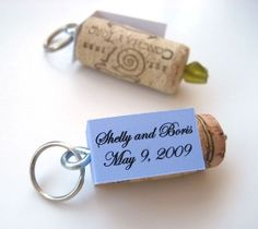 Wine and weddings go together like peas and carrots. Set the tone by making these quirky cork wedding favors from Tiffany Threadgould for your guests to use as keychains  Read more at http://www.favecrafts.com/Wine-Bottle-Crafts/Quirky-Cork-Wedding-Favors/ct/1#0ExiSoePVX9O9Pe8.99