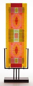 Amber/Salmon Line Work vertical: Lynn Latimer: Art Glass Sculpture | Artful Home