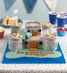 Buy the Personalised Fort Cake (Serves - Last day to Collect February from Marks and Spencer's range. Mike The Knight, Knight Party, Cake Servings, Afternoon Tea, Queens, Magic, Baking, Food, Design