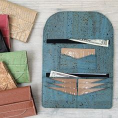 The Lucky Penny Wallet is a simple, slim wallet that has been designed for sewing with cork fabric, vinyl, or kraft-tex. It only requires a small amount of material. I've also included Free SVG Cutting Files! Wallet Sewing Pattern, Sewing Patterns Free, Diy Wallet Pattern Free, Leather Wallet Pattern, Purse Patterns, Sewing Hacks, Sewing Tutorials, Sewing Tips, Sewing Basics