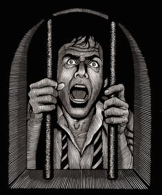 Artist Douglas Smith made a stunning monochromatic illustration series entitled Thrillers and that could be like engraving. Art Scratchboard, Illustrations, Illustration Art, Douglas Smith, Prison Art, Snake Art, Scratch Art, Chicano Art, Clip Art