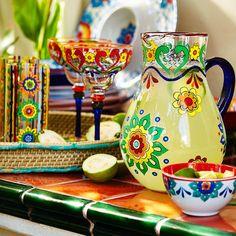 Baja Brights Painted Margarita Glass