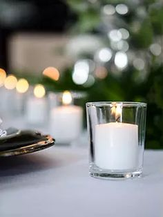 Set of 72 Votive Candles And Candle Holders - Bulk Candles, Votive Candles, Streamer Wall, Candle Picture, Gold Flatware, Ghost Chairs, Greenery Garland, Simple Centerpieces, Beautiful Candles