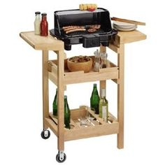 Electric barbeque with storage trolley to keep everything to hand - perfect for a small balcony