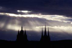 Lichterspiel über dem Erfurter Domplatz