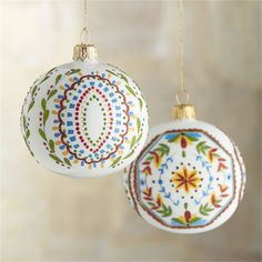 Scalloped medallions filled with brightly colored florals bring folkloric color and pattern to matte white ball ornaments. Each ornament represents the exceptional skills of master glassblowers and designers, who use traditional Old World techniques at a family-owned glassmaking workshop in Poland established in 1959.<br /><br /><NEWTAG/><ul><li>Handcrafted</li><li>Glass, glitter and paint</li><li>Aluminum cap</li><li>Made in Poland</li></ul><br />