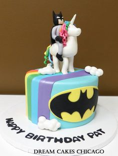 Batman and Unicorn cake by Dream Cakes Chicago