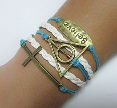 SALE Antiqued Deathly Hallows Bracelet / Cross by Especially2U, $6.99