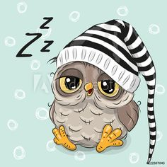 Illustration about Sleeping cute owl in a hood on a blue background. Illustration of childbirth, birthday, decoration - 78202023 Baby Owls, Baby Animals, Cute Animals, Cartoon Cartoon, Cute Owl Cartoon, Cartoon Mignon, Owl Vector, Owl Pictures