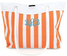 $24 this weekend only! 4/19 Monogram Boat Tote in Nautical Stripe (6 colors)