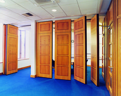 Acoustic movable walls / operable partition perfect for separating one large meeting area into two.