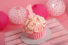 S is one! – Windsor Cake Smash Photographer » Jeneanne Ericsson Photography Pink and white swirl giant cupcake