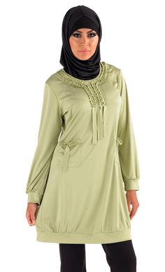 Presented here is a beautiful kurti which is as elegant and modest as it gets. Crafted out of 100% poly knit fabric this kurti is at present available in a choice of green and black. This garment has a beautiful pattern to it thanks to the specially crafted frills at the front centre and at the pockets.