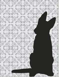 wall art silhouette of a german shepherd with one floppy ear - Google Search