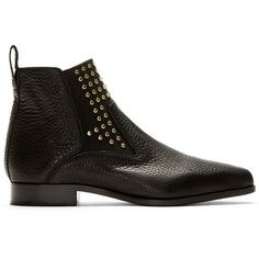 Chloé Black Grained Leather Pointed Ankle Boots