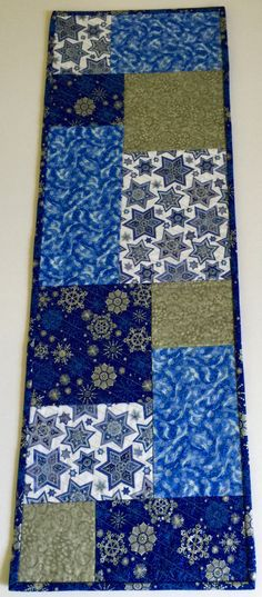 Reversible Quilted Chanukah Hanukkah Table Runner, Star of David Table Cloth for…