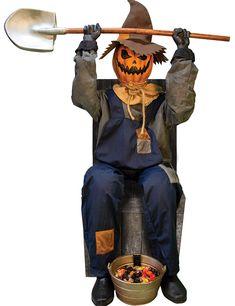 Striking SMILING JACK GREETER W CHAIR. Get Ideas of Cartoon & Animated Wings & Wands for Halloween at CostumePub. Pumpkin Man, Scary Pumpkin, Pumpkin Faces, Pumpkin Halloween Costume, Halloween Costumes For Kids, Scary Halloween, Outdoor Halloween, Halloween 2020, Halloween Displays