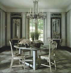 Painted wood floors in the Mellon Mansion, NYC - via Architectural Digest