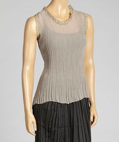 Another great find on #zulily! Brown Ruched Silk-Blend Tank by Pretty Angel #zulilyfinds