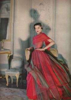 Vogue 1950 50s fashion vintage couture designer red ball gown dress color photo print ad layered overlay red grey shawl wrap model magazine