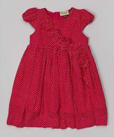Raspberry Gold Ruffle Dress
