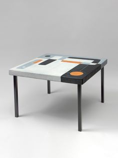 Thomas Fritsch – Artrium. White-grey, black & orange enamelled ceramic. Base in black enamelled metal with square section. Created in 1958.