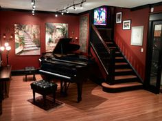 One day, a piano room. A completely black and white color scheme is what I envision.