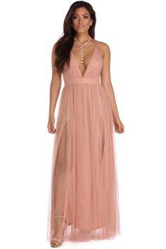 f9b2aabd2f Elisabeth Mauve Pleated Tulle Formal Dress