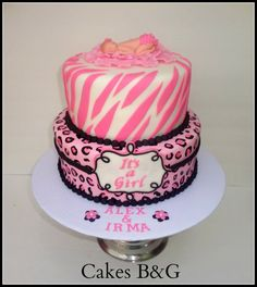 baby shower cakes for a girl zebra print | Pink Zebra and Leopard Baby Shower Cake - by cakesbg @ CakesDecor.com ...