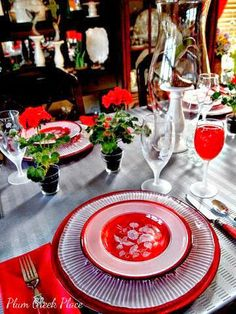Crystal and red Hummingbird Tablescape.  Avon Hummingbird Collection.