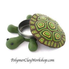 polymer clay turtle box - easy & cute cane project, suitable for kids