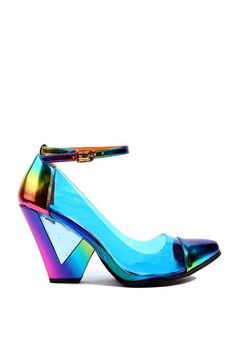 Privileged Tollie Rainbow Lucite Pump - Designed by J. Dossier, the Privileged Tollie Rainbow Lucite Pump embodies its raver-themed style aesthetic. Thick Heels Pumps, Chunky Heel Shoes, Pumps Heels, High Heels, Wedge Heels, Peep Toe, Pointed Toe Pumps, Cute Shoes, Me Too Shoes