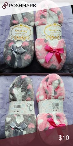 Set of 2 New heart soft Slippers Cute soft pink & gray heart slippers. Fits sizes 6 -9 :) Brand new. Set of 2. Shoes Slippers