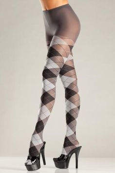 Gray and Black Argyle pantyhose. One size fits most. Dress sizes 6 to 12. Waist 23 inches to 29 inches. Hips 34 inches to 40 inches. Fabric content 92% Nylon, 8% Spandex, Woven. Box packaging. Stockings Lingerie, Sexy Stockings, Thigh High Socks, High Heel Boots, Hot Pants, Plus Size Tights, Sheer Tights, Black Tights, Opaque Tights