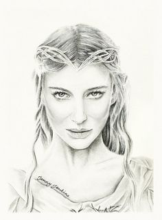 I love the clean lines! But it's also got lots of depth to it. Pencil drawing of Galadriel from The Lord of the Rings.