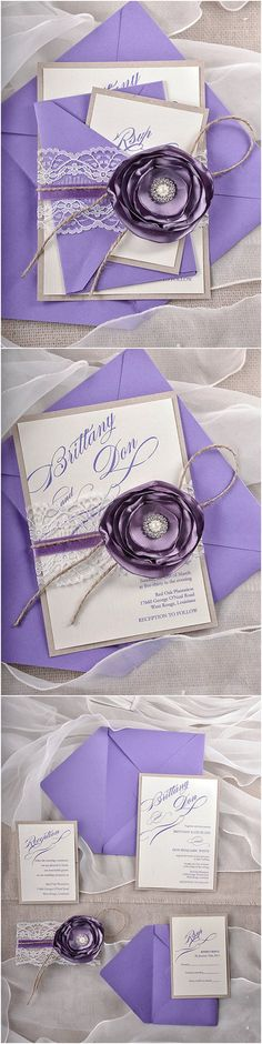 Rustic Lavender Purple Lace Wedding Invitation Cards - Deer Pearl Flowers