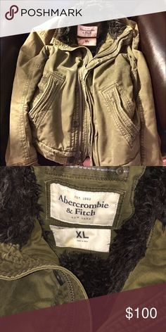Awesome!💥 Abercrombie (men's) Coat in Army Green 💠Heavy and in excellent condition!                    💠Men's XL ( girls can wear it too! ).                                                      Shell: 100% Cotton Body & Sleeve lining: 100% Polyester Fur collar: 72% Polyester, 28% Acrylic Full zip front closure with snap buttons and rugged zipper that has leather handle Two hand warming pockets Ribbed cuffs and waist Embroidery logo patch on left sleeve Military style stitched flaps on…