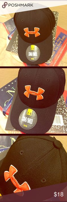 🆕 Under Armour Youth Cap Authentic Under Armour Youth Cap. Boys, but also suitable for Girls. S/M. Black Knit (Honeycomb Pattern). Embroidered Bright Orange UA Logo Trimmed in White. Back has Under Armour in Bright Orange across the Center. 100% Polyester. Brand New. Excellent Condition. No Trades. Under Armour Accessories Hats