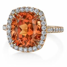 Spessartite & Diamond Ring