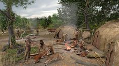 The hunting camp of a Mesolithic tribe in Kernhem, Ede around 8,000 years ago by Paul Becx Medieval, Prehistoric Man, Primitive Technology, Indigenous Tribes, Historical Pictures, Bronze Age, Roman Empire, Anthropology, Ancient History