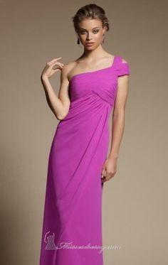 Split Shoulder Dress by Bridesmaids by Mori Lee 648